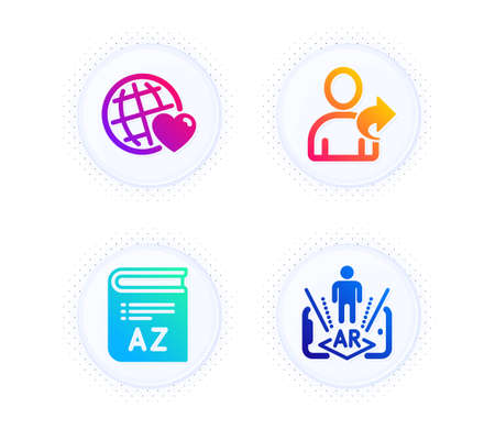 Vocabulary, Friends world and Refer friend icons simple set. Button with halftone dots. Augmented reality sign. Book, Love, Share. Phone simulation. Business set. Gradient flat vocabulary icon. Vector