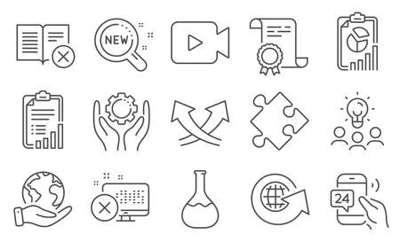Set of Technology icons, such as Intersection arrows, Strategy. Diploma, ideas, save planet. Report, Checklist, Video camera. 24h service, Reject book, Employee hand. Vector Illustration