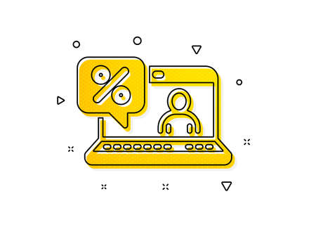Discount sign. Online loan percent icon. Credit percentage symbol. Yellow circles pattern. Classic online loan icon. Geometric elements. Vector