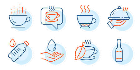 Water bottle, Coffee cup and Restaurant food signs. Water care, Espresso and Coffee line icons set. Mint tea, Beer symbols. Aqua drop, Hot drink. Food and drink set. Outline icons set. Vector