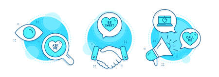 Be sweet, Ask me and Web love line icons set. Handshake deal, research and promotion complex icons. Call me sign. Love sweetheart, Social network. Love set. Vector