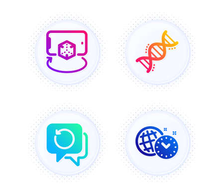 Chemistry dna, Recovery data and Augmented reality icons simple set. Button with halftone dots. Time management sign. Chemical formula, Backup info, Phone simulation. World clock. Science set. Vector