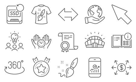 Set of Business icons, such as Ranking star, Full rotation. Diploma, ideas, save planet. Mouse cursor, T-shirt design, Safe time. Sports stadium, Sync, Dollar exchange. Vector