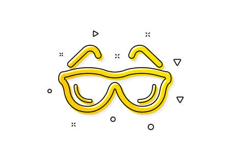 Oculist clinic sign. Eyeglasses icon. Optometry vision symbol. Yellow circles pattern. Classic eyeglasses icon. Geometric elements. Vector