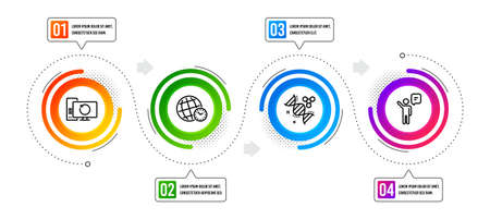Agent, Time zone and Chemistry dna line icons set. Infographic timeline. Recovery computer sign. Business person, World clock, Chemical formula. Backup info. Education set. Vector Иллюстрация