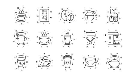 Cappuccino, Teapot and Coffeepot. Coffee and Tea line icons. Coffee beans linear icon set. Geometric elements. Quality signs set. Vector
