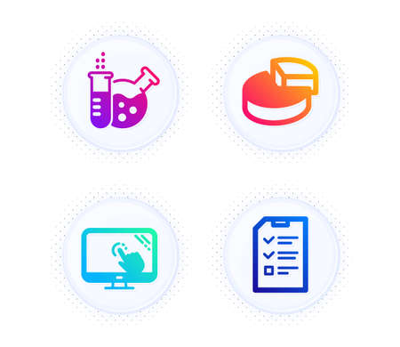 Touch screen, Pie chart and Chemistry lab icons simple set. Button with halftone dots. Interview sign. Web support, 3d graph, Laboratory. Checklist file. Science set. Vector