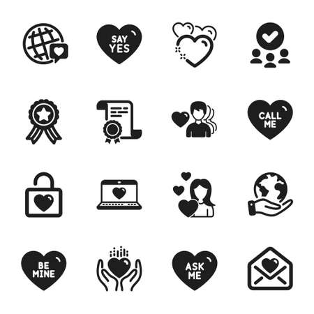 Set of Love icons, such as Be mine, Wedding locker. Certificate, approved group, save planet. Hold heart, Heart, Say yes. Love letter, Ask me, World brand. Love, Call me classic icons. Vector