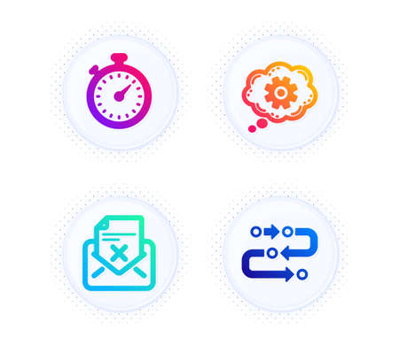 Timer, Cogwheel and Reject letter icons simple set. Button with halftone dots. Methodology sign. Stopwatch gadget, Engineering tool, Delete mail. Development process. Technology set. Vector