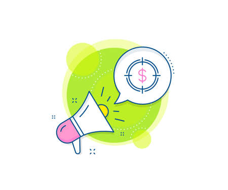 Aim symbol. Megaphone promotion complex icon. Target with Dollar line icon. Cash or Money sign. Business marketing banner. Dollar Target sign. Vector