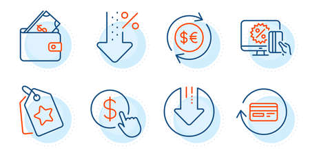 Refund commission, Loyalty tags and Download arrow signs. Buy currency, Wallet and Low percent line icons set. Money currency, Online shopping symbols. Money exchange, Usd cash. Finance set. Vector