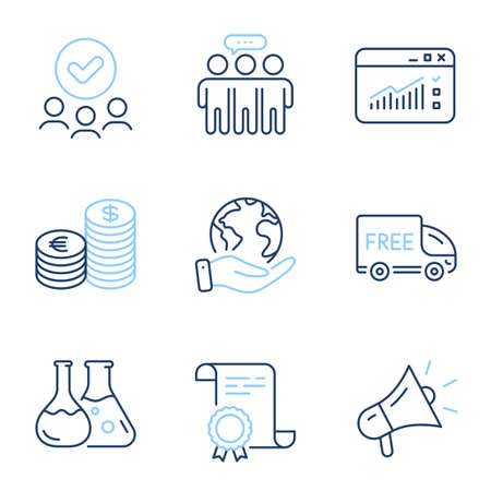 Currency, Chemistry lab and Free delivery line icons set. Diploma certificate, save planet, group of people. Megaphone, Web traffic and Employees group signs. Vector
