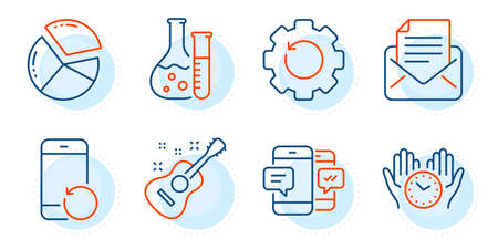 Chemistry lab, Safe time and Recovery gear signs. Recovery phone, Guitar and Smartphone sms line icons set. Pie chart, Mail correspondence symbols. Backup smartphone, Acoustic instrument. Vector Vector Illustratie
