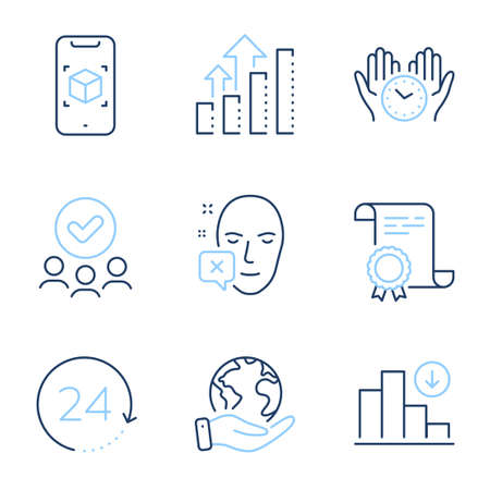 Face declined, Safe time and 24 hours line icons set. Diploma certificate, save planet, group of people. Augmented reality, Decreasing graph and Analysis graph signs. Vector