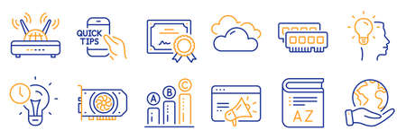 Set of Science icons, such as Gpu, Time management. Certificate, save planet. Seo marketing, Vocabulary, Idea. Cloudy weather, Ram, Graph chart. Education, Wifi line icons. Vector Ilustração