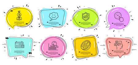 Time management, Calendar and Manager signs. Speech bubbles with quotes. Pecan nut, Search and Speech bubble line icons set. Messages, Medical tablet symbols. Vegetarian food, Analytics. Vector