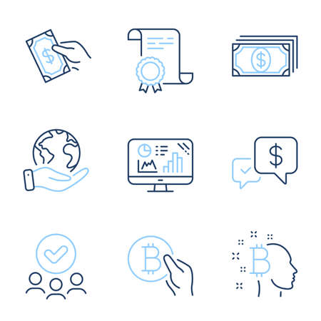 Bitcoin think, Payment and Analytics graph line icons set. Diploma certificate, save planet, group of people. Bitcoin pay, Payment received and Pay money signs. Vector