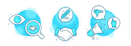 Hair dryer, Employees handshake and Brand contract line icons set. Handshake deal, research and promotion complex icons. Click hand sign. Hairdryer, Deal hand, Edit report. Direction finger. Vector