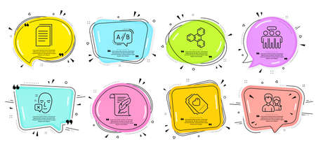 Feather, Copy files and Employees group signs. Speech bubbles with quotes. Ab testing, Love ticket and Chemical formula line icons set. Face declined, Teamwork symbols. Test chat, Heart. Vector