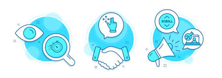 Move gesture, Online chemistry and Scroll down line icons set. Handshake deal, research and promotion complex icons. Timer sign. Swipe, Lab flask, Swipe arrow. Deadline management. Vector Vetores