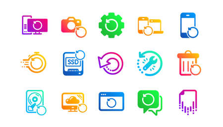 Backup, Restore data and recover file. Recovery icons. Laptop renew, drive repair and phone recovery icons. Classic set. Gradient patterns. Quality signs set. Vector