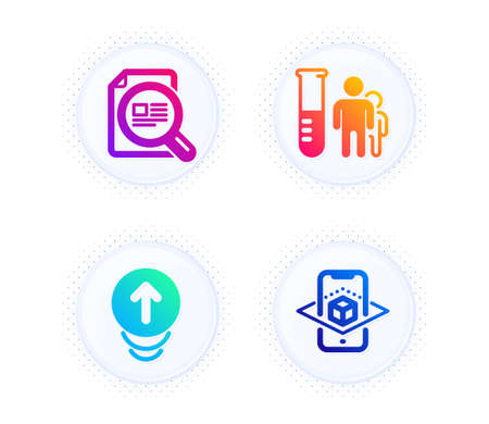 Swipe up, Check article and Medical analyzes icons simple set. Button with halftone dots. Augmented reality sign. Scrolling page, Magnifying glass, Medicine results. Phone simulation. Vector