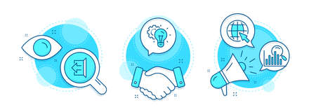Search, Idea gear and Sign out line icons set. Handshake deal, research and promotion complex icons. Internet sign. Analytics, Technology process, Logout. World web. Technology set. Vector