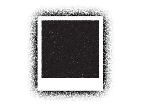 Dotwork photo frame vector pattern. Sand grain effect. Black noise stipple dots. Dots grunge photo picture. Noise dotwork frame pattern. Empty picture template. Stochastic dotted vector picture. Иллюстрация
