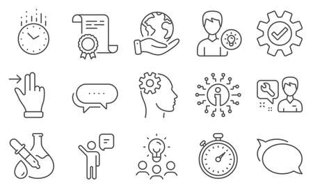 Set of Technology icons, such as Person idea, Chemistry experiment. Diploma, ideas, save planet. Dots message, Agent, Talk bubble. Repairman, Touchscreen gesture, Info. Vector