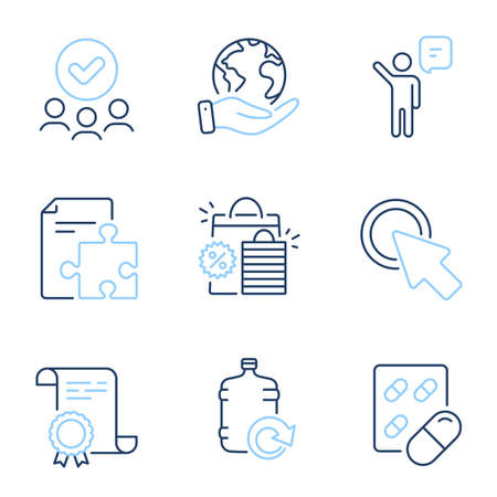 Agent, Capsule pill and Shopping bags line icons set. Diploma certificate, save planet, group of people. Click here, Refill water and Strategy signs. Vector