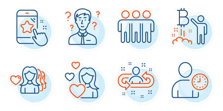 Friendship, Support consultant and Woman love signs. Bitcoin project, Star rating and Time management line icons set. Recruitment, Love symbols. Cryptocurrency startup, Phone feedback. Vector