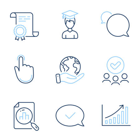 Graph chart, Analytics graph and Student line icons set. Diploma certificate, save planet, group of people. Hand click, Approved message and Messenger signs. Vector Иллюстрация
