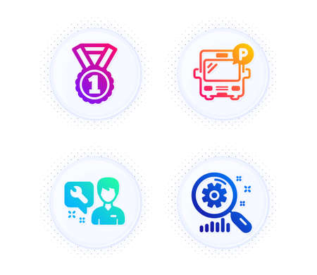 Bus parking, Best rank and Repairman icons simple set. Button with halftone dots. Search statistics sign. Public park, Success medal, Repair service. Analysis. Business set. Vector