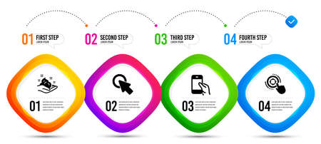 Click here, Hold smartphone and Skin care icons simple set. Timeline infographic. Seo target sign. Push button, Phone call, Hand cream. Click aim. Business set. Vector