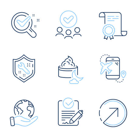 Rfp, Chemistry lab and Direction line icons set. Diploma certificate, save planet, group of people. Spanner, Night cream and Flight destination signs. Vector