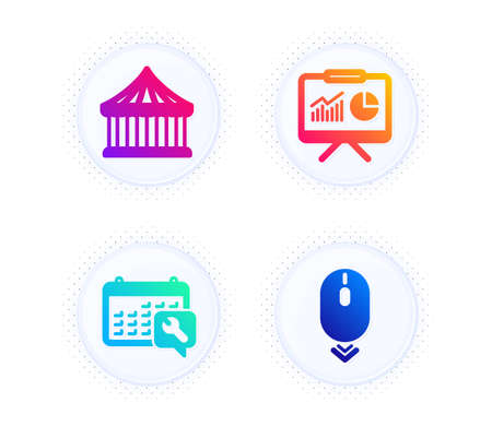 Spanner, Carousels and Presentation icons simple set. Button with halftone dots. Scroll down sign. Repair service, Attraction park, Board with charts. Mouse swipe. Business set. Vector