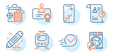 Washing machine, Smartphone broken and Certificate signs. Seo shopping, Train and Report line icons set. Checkbox, Brand contract symbols. Analytics, Tram. Technology set. Outline icons set. Vector Illusztráció