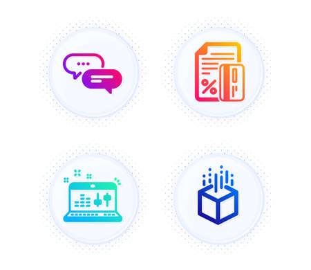 Dots message, Sound check and Credit card icons simple set. Button with halftone dots. Augmented reality sign. Chat bubble, Dj controller, Loan percent. Virtual reality. Technology set. Vector Ilustración de vector