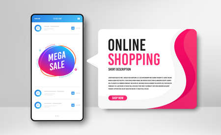 Phone banner template. Mega sale badge. Discount banner shape. Coupon bubble icon. Social media banner with smartphone screen. Online shopping web template. Mega sale promotion badge. Vector