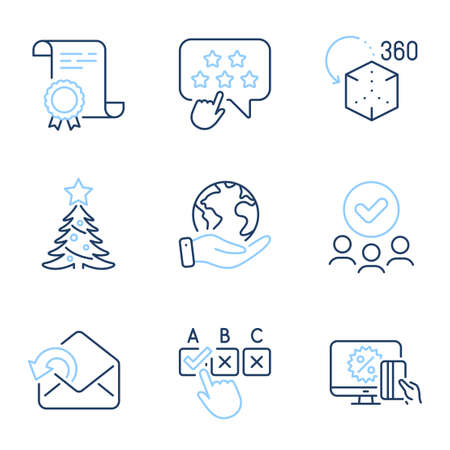 Correct checkbox, Christmas tree and Augmented reality line icons set. Diploma certificate, save planet, group of people. Ranking star, Send mail and Online shopping signs. Vector