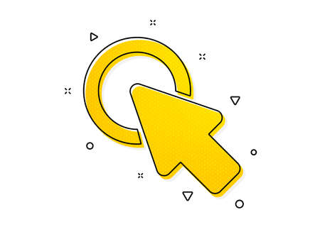 Push the button sign. Click here icon. Web cursor symbol. Yellow circles pattern. Classic click here icon. Geometric elements. Vector Иллюстрация