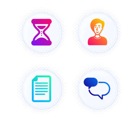 File, Time and Businesswoman person icons simple set. Button with halftone dots. Chat message sign. Paper page, Clock, Female user. Speech bubble. Business set. Gradient flat file icon. Vector Illustration
