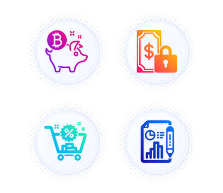 Bitcoin coin, Private payment and Shopping cart icons simple set. Button with halftone dots. Report document sign. Piggy bank, Secure finance, Discount. Growth chart. Finance set. Vector