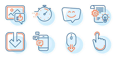 Cogwheel, Smile face and Load document signs. Scroll down, Communication and Timer line icons set. Hand click, Like photo symbols. Mouse swipe, Smartphone messages. Technology set. Vector