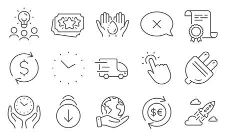 Set of Business icons, such as Touchpoint, Startup rocket. Diploma, ideas, save planet. Money currency, Reject, Wash hands. Scroll down, Truck delivery, Time. Vector