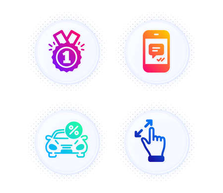 Car leasing, Message and Approved icons simple set. Button with halftone dots. Touchscreen gesture sign. Transport discount, Phone messenger, Winner badge. Zoom in. Business set. Vector