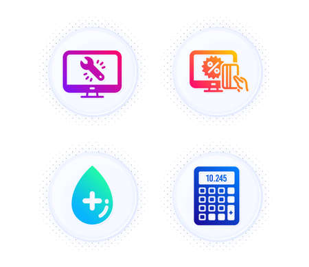 Online shopping, Oil serum and Monitor repair icons simple set. Button with halftone dots. Calculator sign. Black friday, Cosmetic care, Computer service. Accounting device. Technology set. Vector