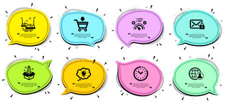 No internet, Online market and Startup signs. Chat bubbles with quotes. Secure mail, Energy and International recruitment line icons set. Time management, Bumper cars symbols. Vector