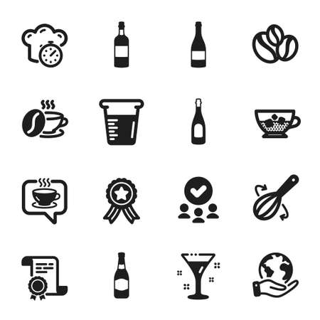 Set of Food and drink icons, such as Coffee, Champagne. Certificate, approved group, save planet. Cold coffee, Champagne bottle, Brandy bottle. Cooking whisk, Cocktail, Coffee-berry beans. Vector