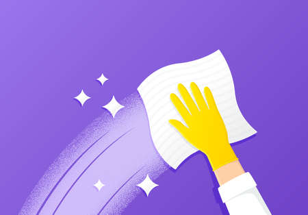 Cleaning and wipe surface. Antibacterial wet wipe. Gloved cleaner hand wipes with kitchen towel. Protective yellow rubber glove. Home hygiene. Clean and shine surface. Sanitize cleaning cloth. Vector Ilustración de vector